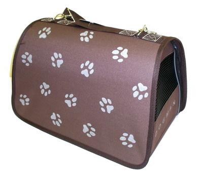 DOGMAN Сумка -переноска для собак Лира №2 Лапки, коричневая, 39х25х26см (фото)