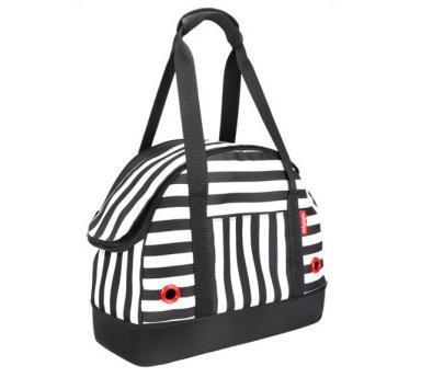 IBBI Мягкая сумка-переноска для собак 40х18х32 см черно-белая полоска (фото)