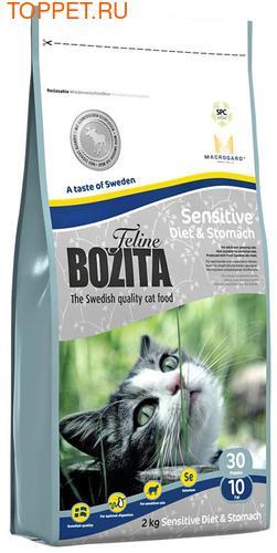 Bozita Корм Для кошек с чувствительным пищеварением с курицей, лосем, овсом и рисом, сух.