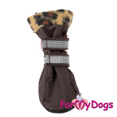 ForMyDogs Обувь для мелких пород собак из водоотталкивающего нейлона на флисовой подкладке, цвет коричневый, размер №3 (фото)