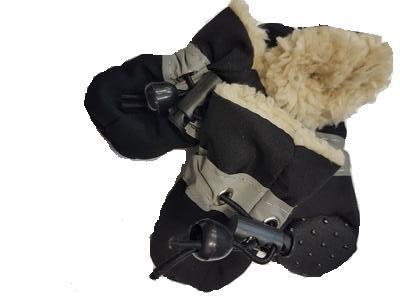 Al1 Ботиночки для собак теплые с мехом черные, размер №1, №2, №3, №4 (фото)