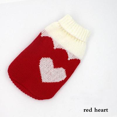 """Al1 Свитер для собак трикотажный """"Сердечко"""", размер №12, белый/красный"""