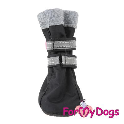 ForMyDogs Сапоги для собак из нейлона на флисе, цвет черный, размер №1, №2 (фото)