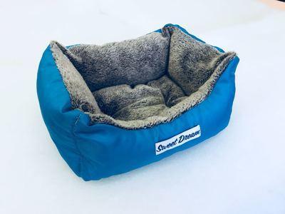 Бобровый дворик Лежак для собак и кошек Сладкий сон Мех, голубой