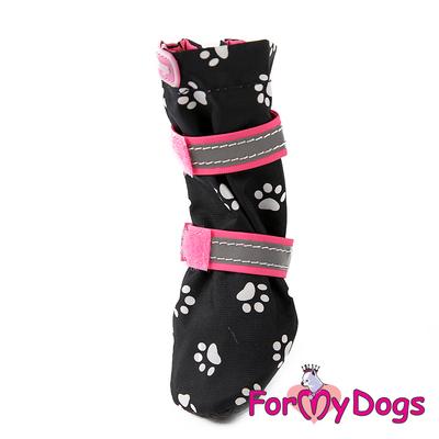 """ForMyDogs Сапоги для собак """"Лапки"""", цвет черный/розовый, размер №1, №2 (фото)"""
