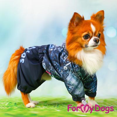 """ForMyDogs Дождевик для собак """"Джинса"""" синий, модель для мальчиков, размер №10, №18 (фото)"""