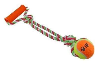 DOGMAN Игрушка для собак Мячик на канате с ручкой (35 см), d7см (фото)