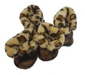 Al1 Сапожки для собак на меху леопард, бежевые, размер №5 (фото)