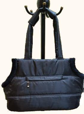 P&D Сумка-переноска с мехом для собак Комфорт черная, 42х20х25 см (фото)