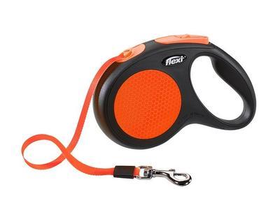 Flexi Рулетка New Neon M (до 25 кг) лента 5 м, оранжевый