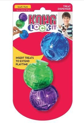 Kong Игрушка для собак Lock-It мячи для лакомств, 3 шт., d.5,7см (фото)
