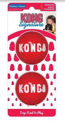 Kong Игрушка для собак Мячик М, 2 шт, d.6,4см (фото)