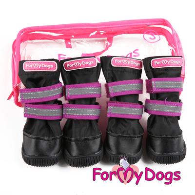 ForMyDogs Сапоги для крупных собак из нейлона с усиленной защитой от воды, черно/фиолетовые, размер №8 (фото)