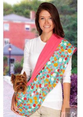 АНТ Слинг для собак 2-х сторонний, розовый/цветной микс, 83х43см, плюш/хб (фото)