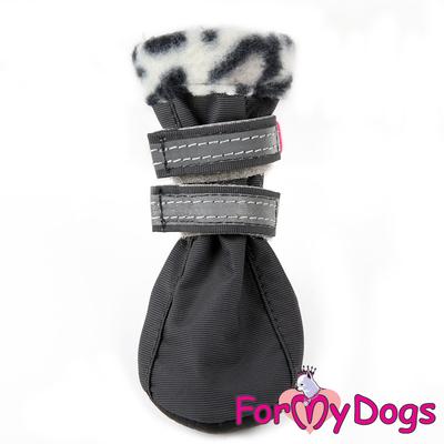 ForMyDogs Обувь для мелких пород собак на флисовой подкладке, серые, размер №1 (фото)