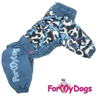 """ForMyDogs Дождевик для больших собак """"Камуфляж"""" синий, модель для мальчиков, размер С2 (фото)"""