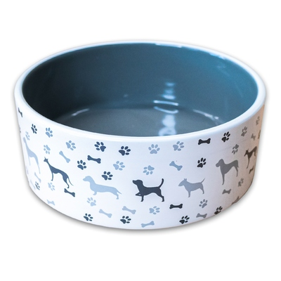 КерамикАрт Миска керамическая для собак рисунком, серая (фото)
