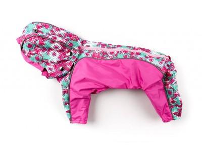ZooPrestige Дождевик для собак Дружок, розовый/орнамент, размер М, спина 27-31см (фото)