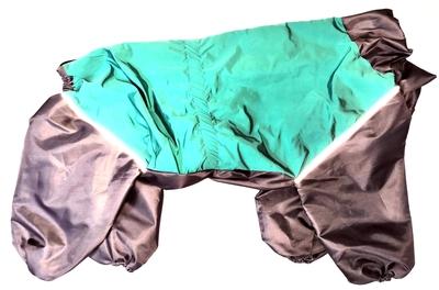LifeDog Дождевик для больших пород собак, бирюза/серый, размер 6XL, спина 65см