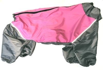 LifeDog Дождевик для больших пород собак, розовый/серый, размер 6XL, спина 65см