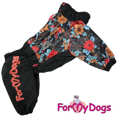 ForMyDogs Дождевик для крупных пород черный/цветы, модель для девочки, размер D3 (фото)