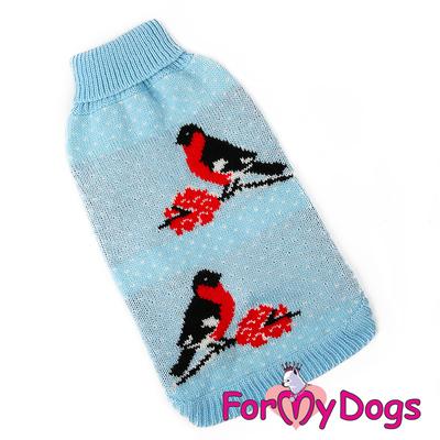 """ForMyDogs Свитер для собак голубой, вязаный """"Снeгири"""", размер №12-14 (фото)"""