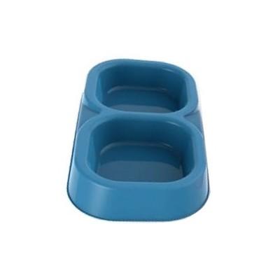 BAMA PET Миска для собак и кошек пластиковая двойная 154 мл, голубая