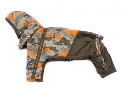 ZooAvtoritet Дождевик для собак Дружок, хаки/рисунок, размер XL, спина 36-40см