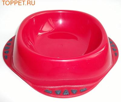 """MPS Миска для собак """"MAYA"""" с косточками, пластик, 0,3л, цвет красный"""