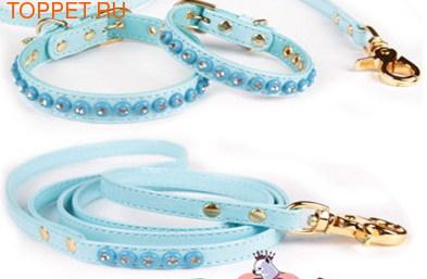 ForMyDogs Поводок для собак голубой лаковый, кожзам мягкий, размер 1,0смх1,2м