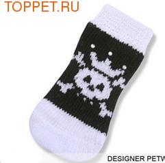 I's Pet Носки для собак, цвет черный с белым, украшены стразами, размер М