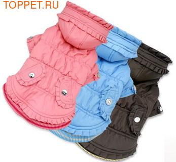 I's Pet Куртка для собак теплая с отделкой рюшками, цвет розовый, размер М