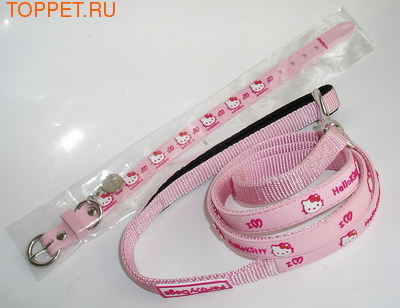 ForMyDogs  Ошейник с поводком Hello Kitty розовый, размер 1,3х22-26см, размер поводка 1,3смх1,2м