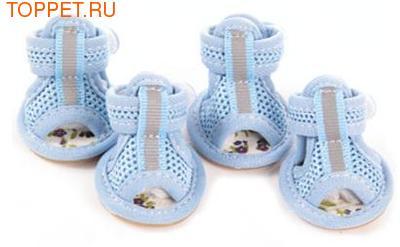 Al1 Сандалии для собак размер №2, цвет голубой, текстиль
