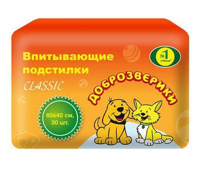 Пелигрин Пеленки для собак Доброзверики Classic для собак 60х40см (фото)