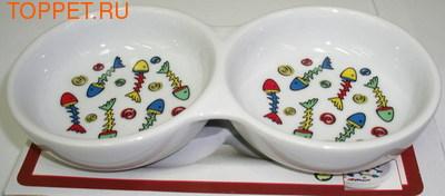 Beeztees Миска двойная, фарфоровая с цветными рыбками, размер 22см- 2х0,2л