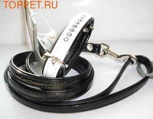 Hunter  Ошейник с поводком цвет белый/черный, стразы Swarovski размер ошейника 17х20,5см, размер поводка 8/110см, кожзам