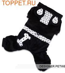 """I's Pet Костюм для собак с капюшоном, украшенным """"ушками"""" черный, велюр, размер S"""