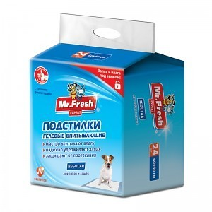 Mr.Fresh Пеленки для собак Regular 60 х 60 см, для ежедневного применения, 24шт.