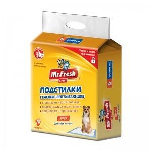 Mr.Fresh Пеленки для собак Super 90 х 60 см, в упаковке 6шт., повышенной впитываемости