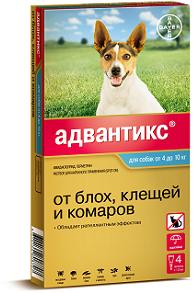 Bayer Адвантикс 100С капли от блох и клещей для собак от 4 до 10 кг