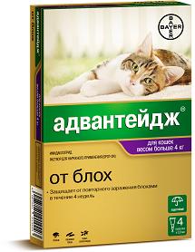 Bayer АДВАНТЕЙДЖ 80К капли от блох для кошек свыше 4 кг