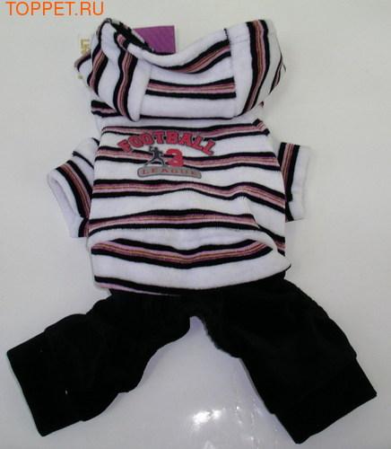 LifeDog Костюм велюровый, цвет белый с черным, размер XS, длина спины 17-21см