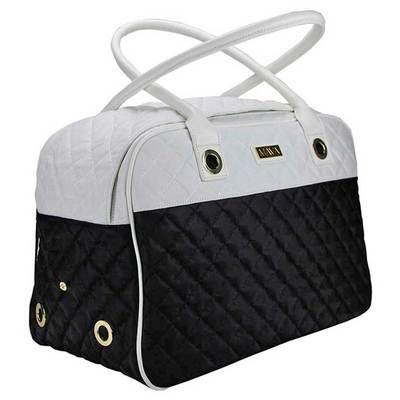 DOGMAN Сумка -переноска для собак Малибу, черно/белая, размер 42х22х28 см (фото)