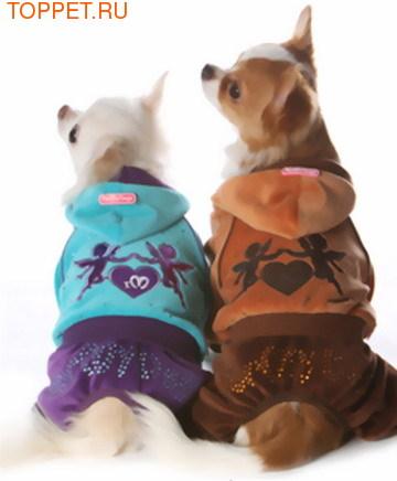 ForMyDogs Костюм для маленьких собак велюровый коричневый, модель для мальчиков, размер 10