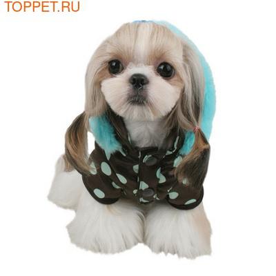 Pinkaholic Теплая куртка для маленьких собак с голубым горохом, размер L (фото)