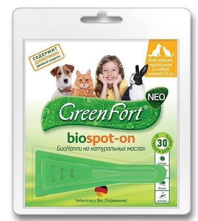 Грин Форт БиоКапли для кошек, кроликов и собак менее 10кг от эктопаразитов G201 1пипетка*1мл