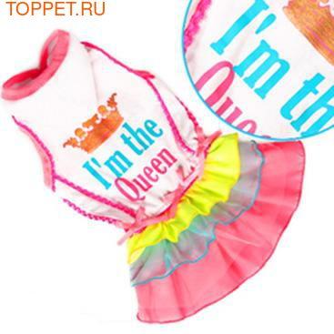 ForMyDogs Платье для собак с капюшоном белое с разноцветной юбочкой, размер 12