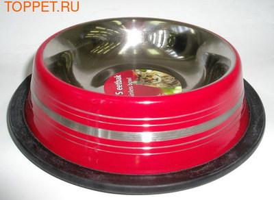 Beeztees Миска стальная нескользящая, красная в полоску 11см