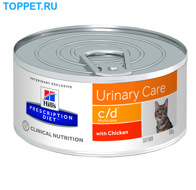 HILL'S Консервы PD Feline c/d Multicare Minced with Chicken Для кошек, курица, уролитиаз, 156г (фото)
